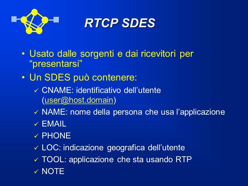 RTCP SDES Usato dalle sorgenti e dai ricevitori per presentarsi
