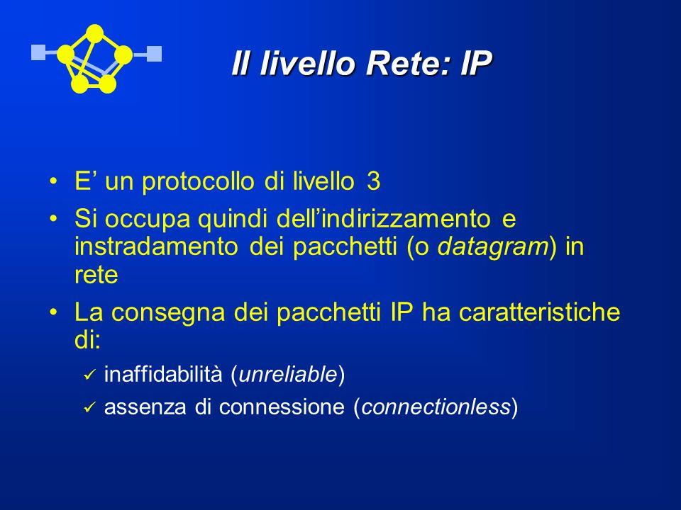 Il livello Rete: IP E' un protocollo di livello 3