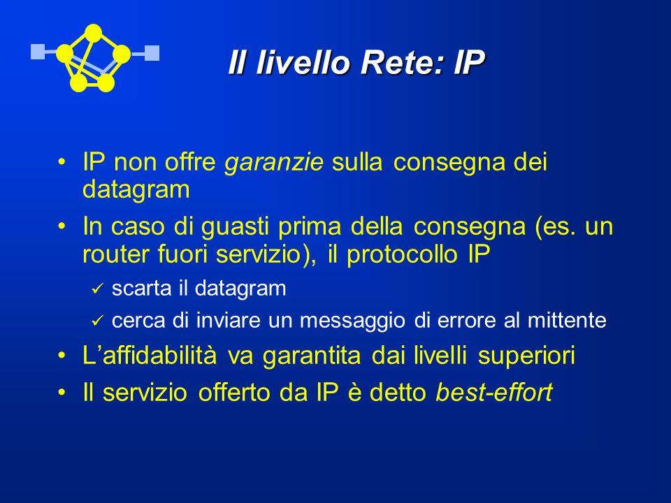 Il livello Rete: IP IP non offre garanzie sulla consegna dei datagram