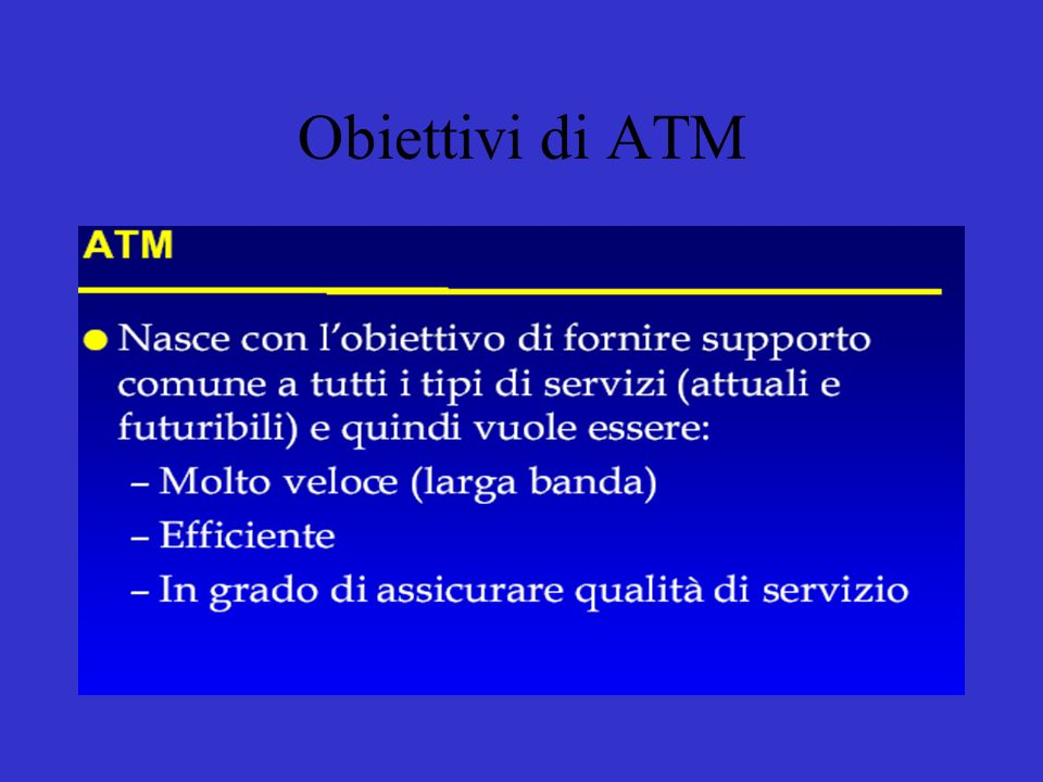 Obiettivi di ATM