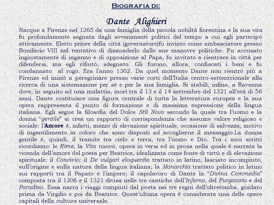 Dante Alighieri Biografia di: