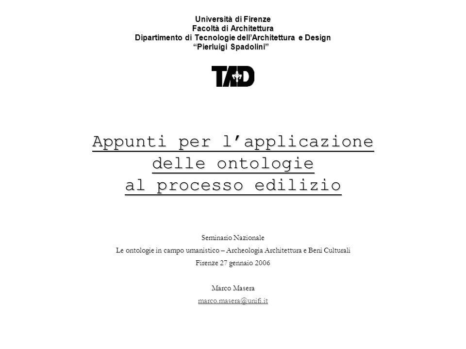 Appunti per l'applicazione delle ontologie al processo edilizio
