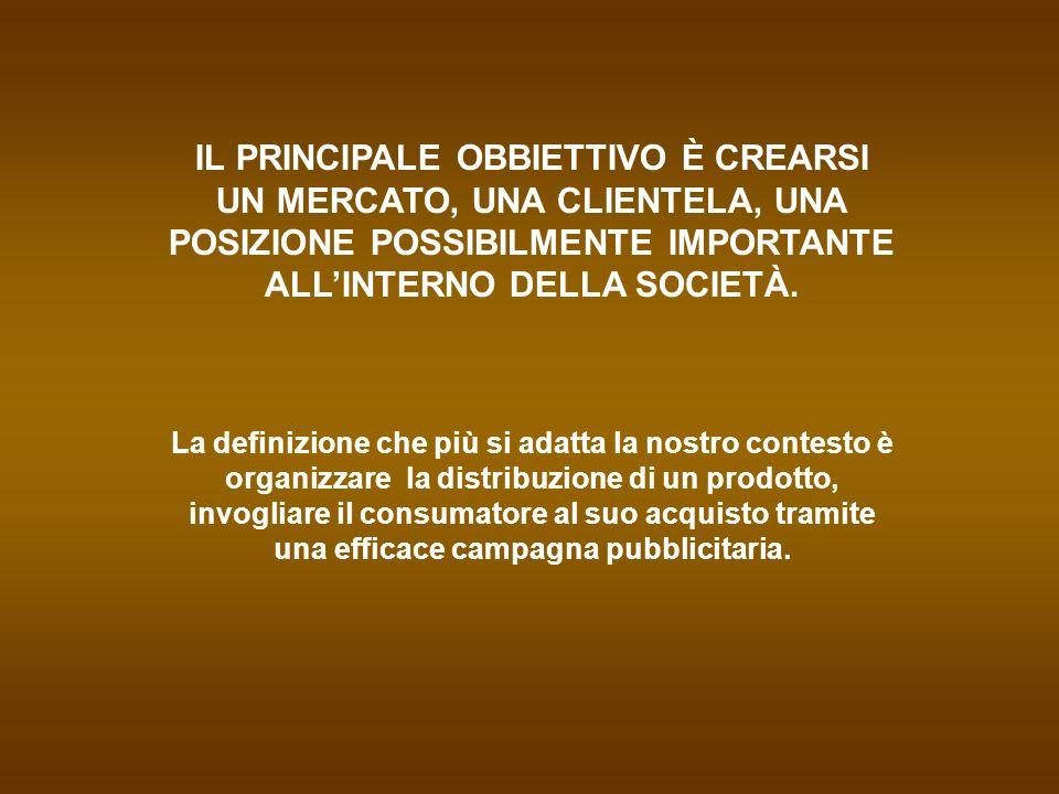 IL PRINCIPALE OBBIETTIVO È CREARSI UN MERCATO, UNA CLIENTELA, UNA POSIZIONE POSSIBILMENTE IMPORTANTE ALL'INTERNO DELLA SOCIETÀ.