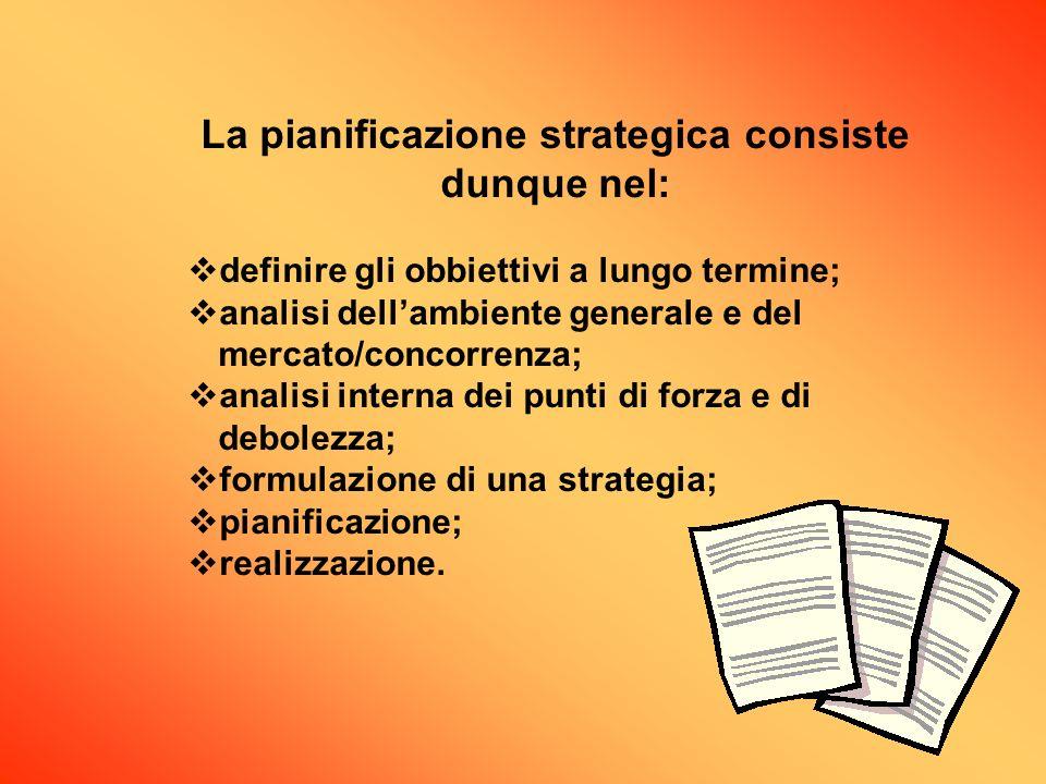 La pianificazione strategica consiste dunque nel: