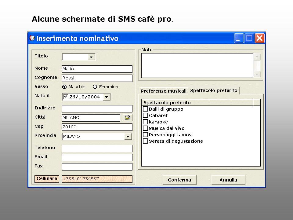 Alcune schermate di SMS cafè pro.