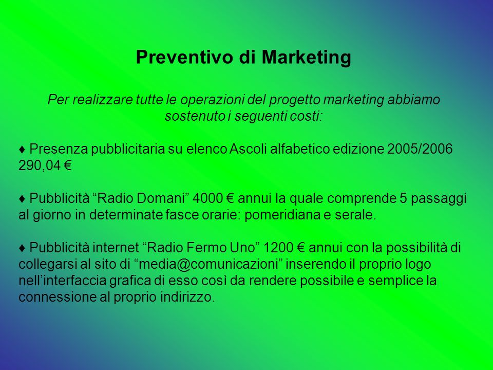 Preventivo di Marketing