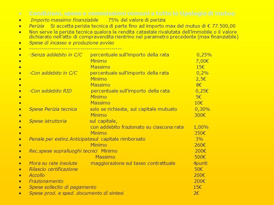 Condizioni, spese e commissioni comuni a tutte le tipologie di mutuo