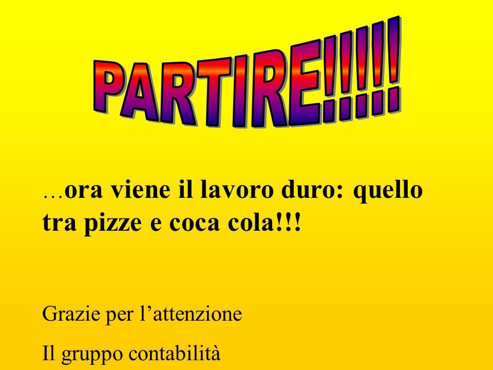 PARTIRE!!!!. …ora viene il lavoro duro: quello tra pizze e coca cola!!.