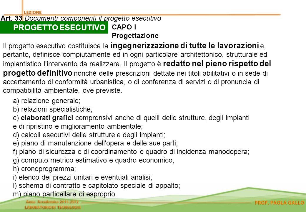 PROGETTO ESECUTIVO Art. 33 Documenti componenti il progetto esecutivo