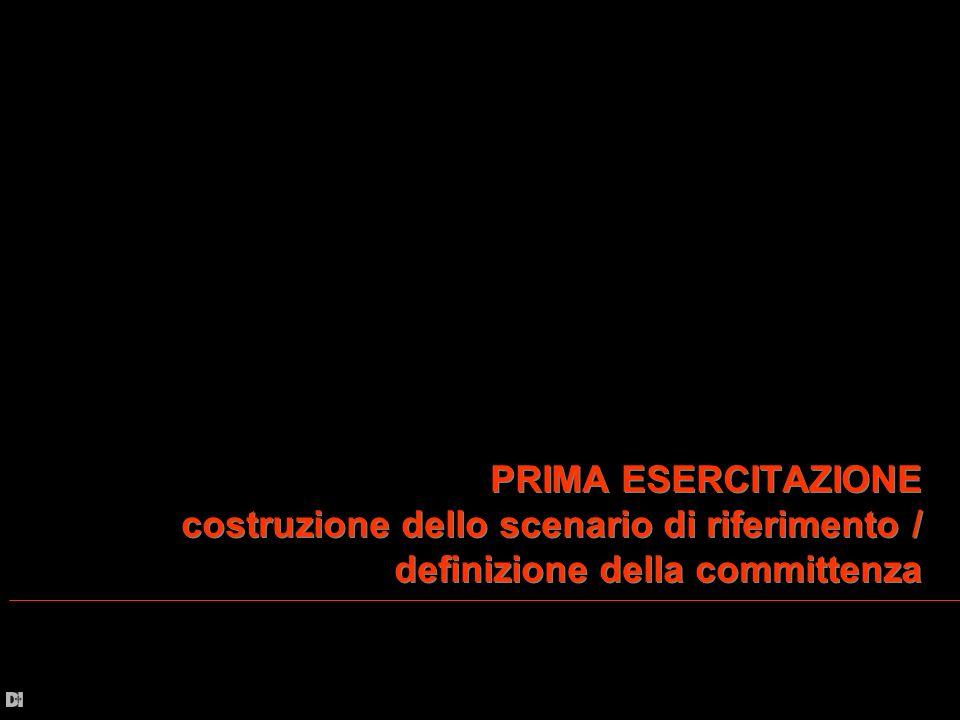 PRIMA ESERCITAZIONE costruzione dello scenario di riferimento / definizione della committenza