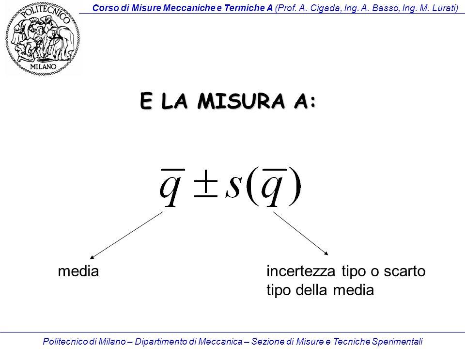 E LA MISURA A: media incertezza tipo o scarto tipo della media