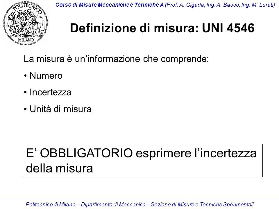 Definizione di misura: UNI 4546