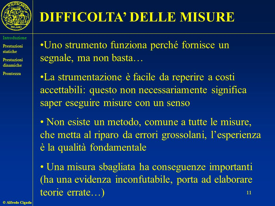 DIFFICOLTA' DELLE MISURE