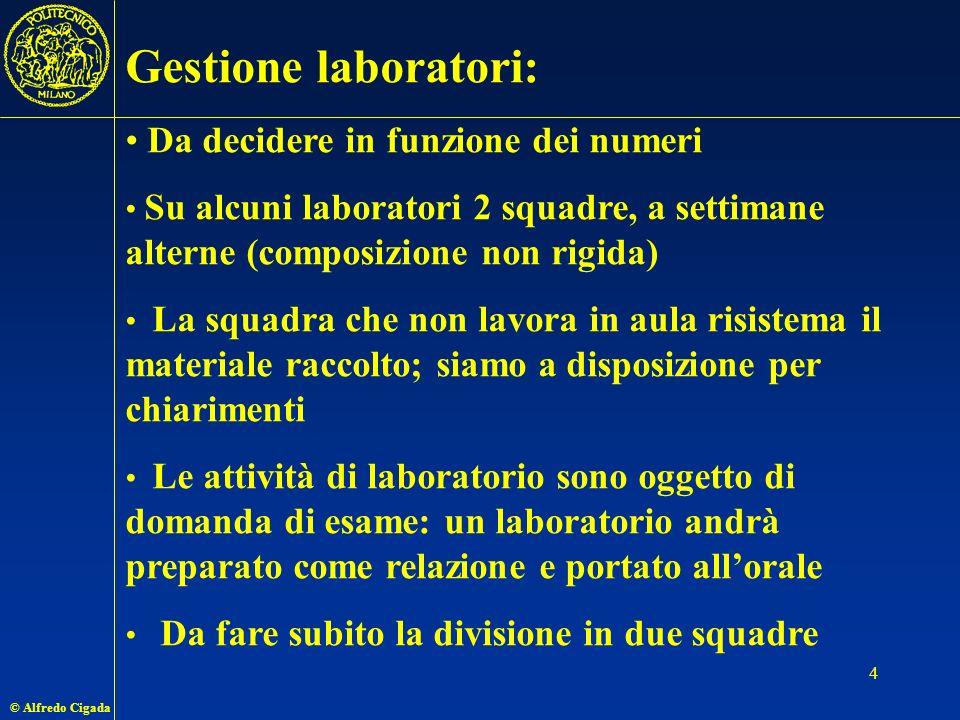 Gestione laboratori: Da decidere in funzione dei numeri