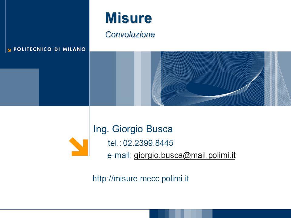 Misure Convoluzione Ing. Giorgio Busca tel.: 02.2399.8445