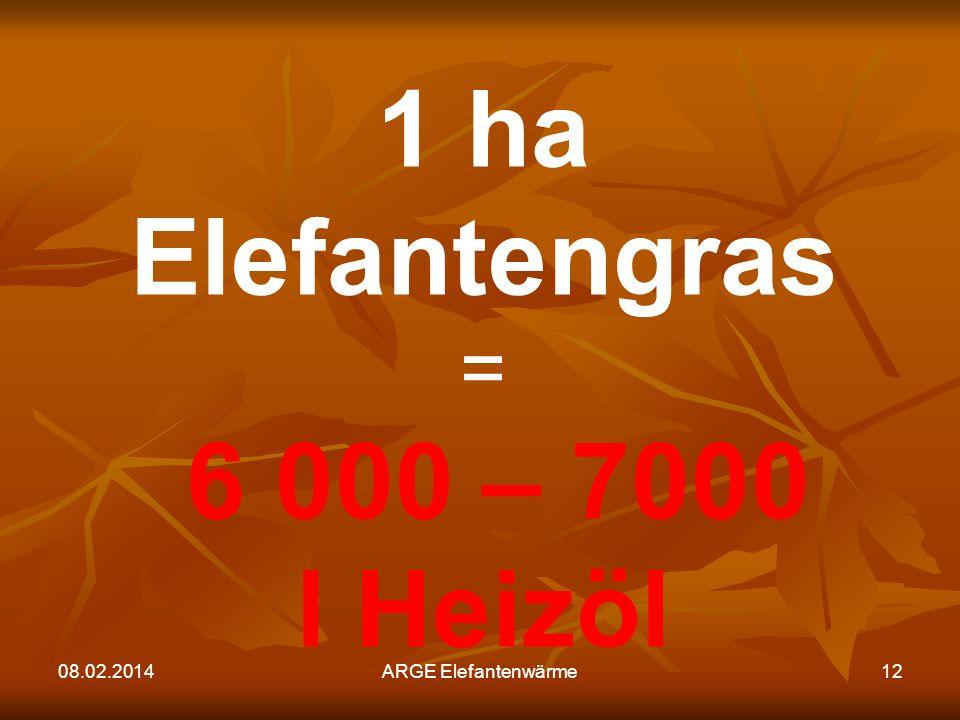 1 ha Elefantengras 6 000 – 7000 l Heizöl = 27.03.2017