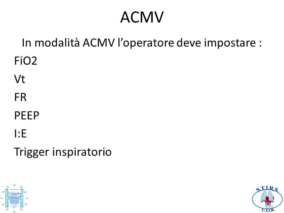 In modalità ACMV l'operatore deve impostare :