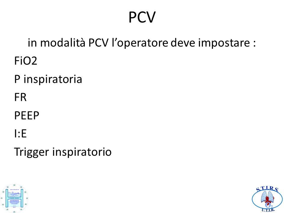 in modalità PCV l'operatore deve impostare :