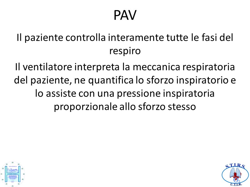 Il paziente controlla interamente tutte le fasi del respiro