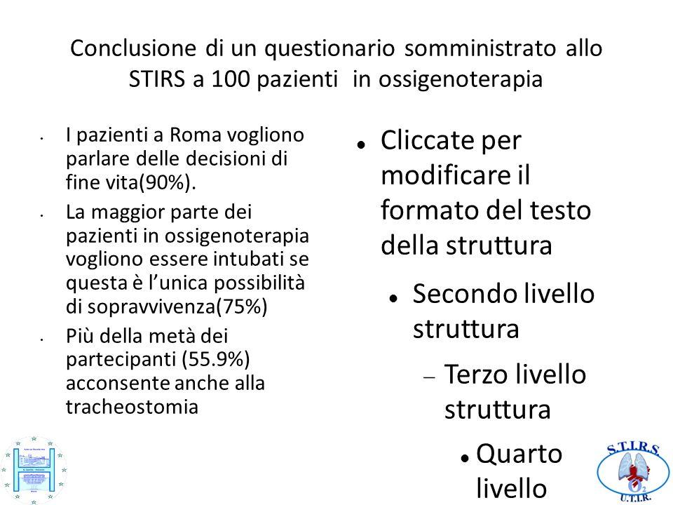 24242424 Conclusione di un questionario somministrato allo STIRS a 100 pazienti in ossigenoterapia.