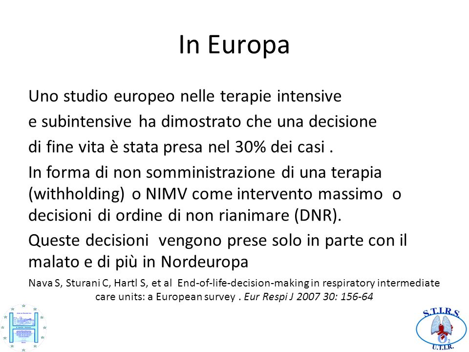 In Europa Uno studio europeo nelle terapie intensive