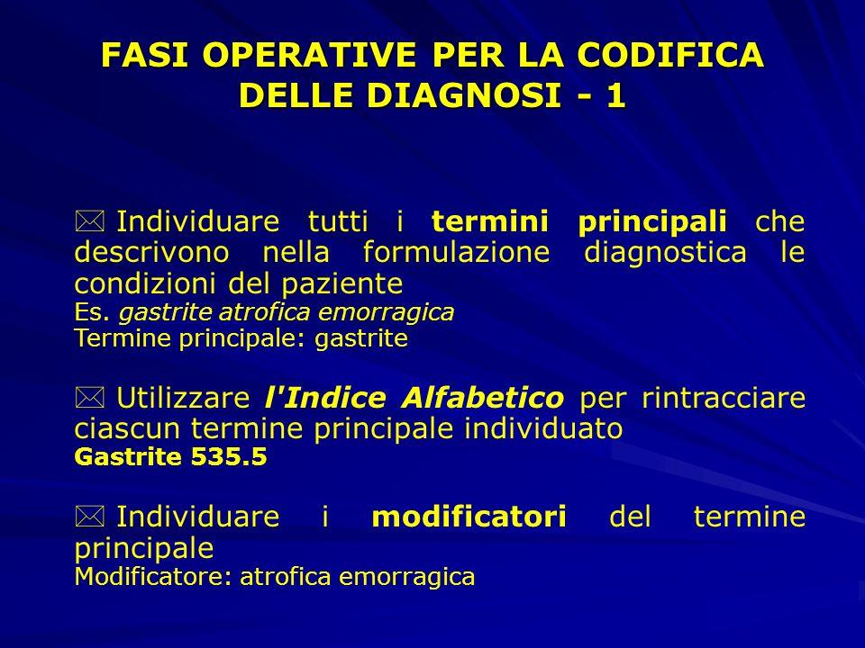 FASI OPERATIVE PER LA CODIFICA DELLE DIAGNOSI - 1