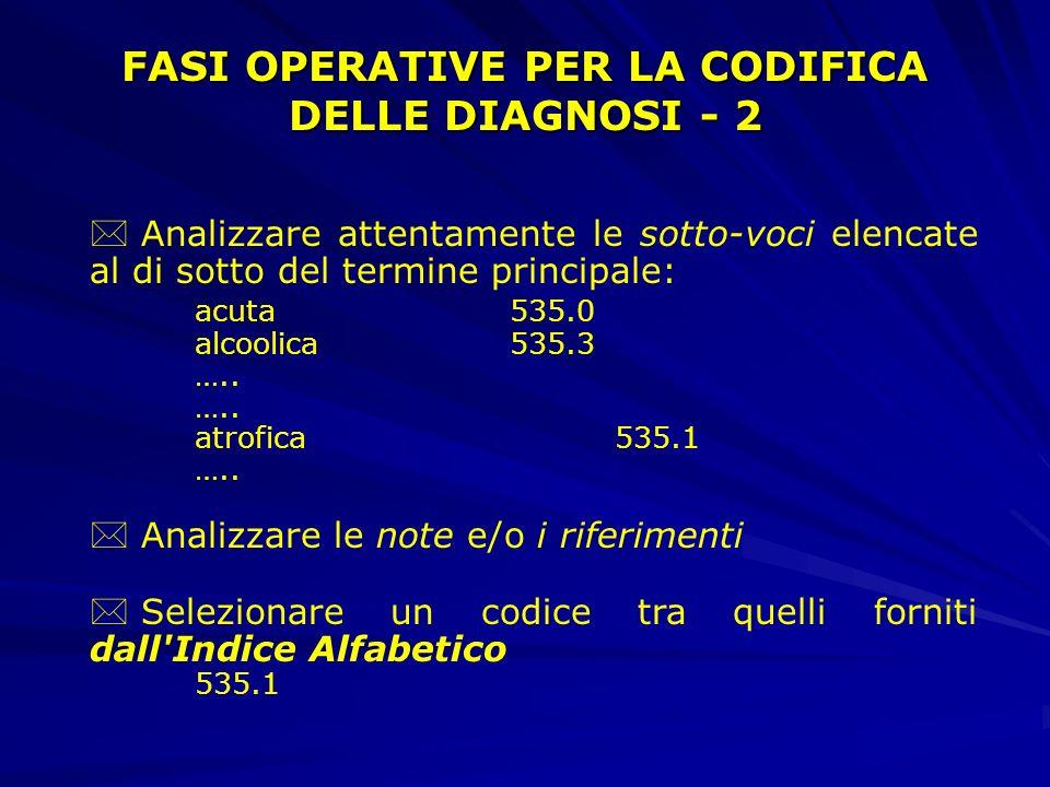 FASI OPERATIVE PER LA CODIFICA DELLE DIAGNOSI - 2