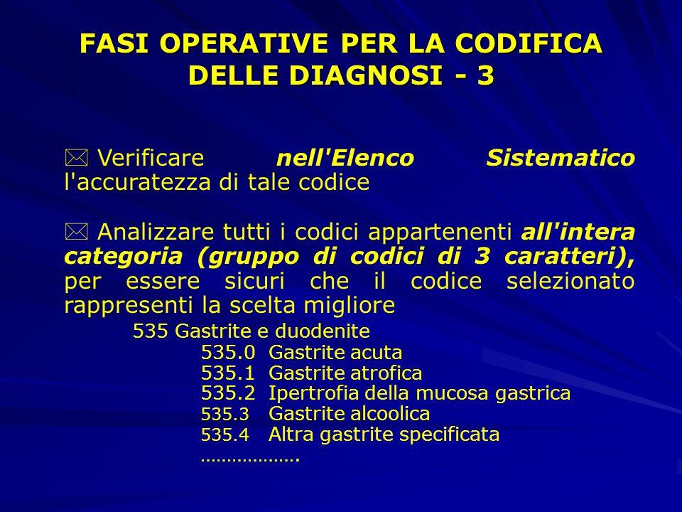 FASI OPERATIVE PER LA CODIFICA DELLE DIAGNOSI - 3