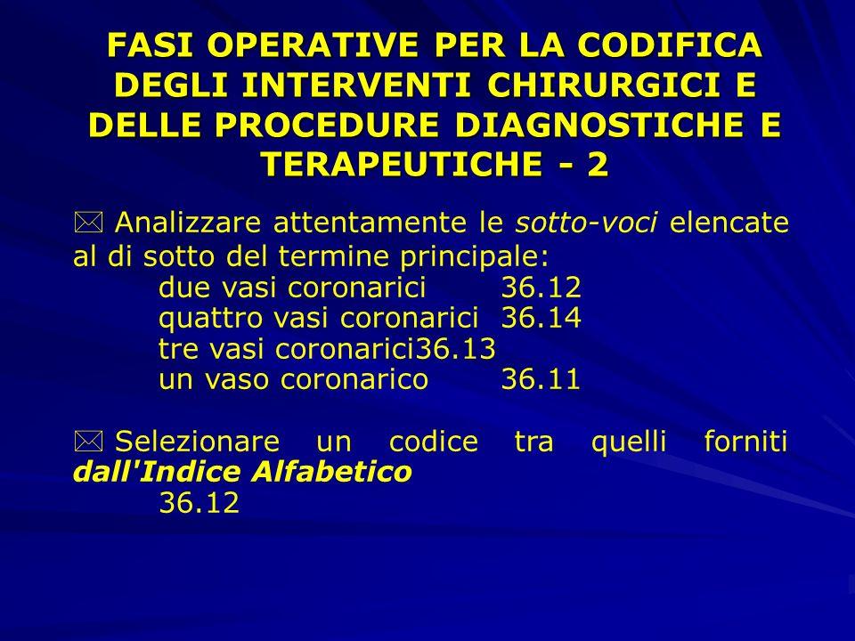 FASI OPERATIVE PER LA CODIFICA DEGLI INTERVENTI CHIRURGICI E DELLE PROCEDURE DIAGNOSTICHE E TERAPEUTICHE - 2
