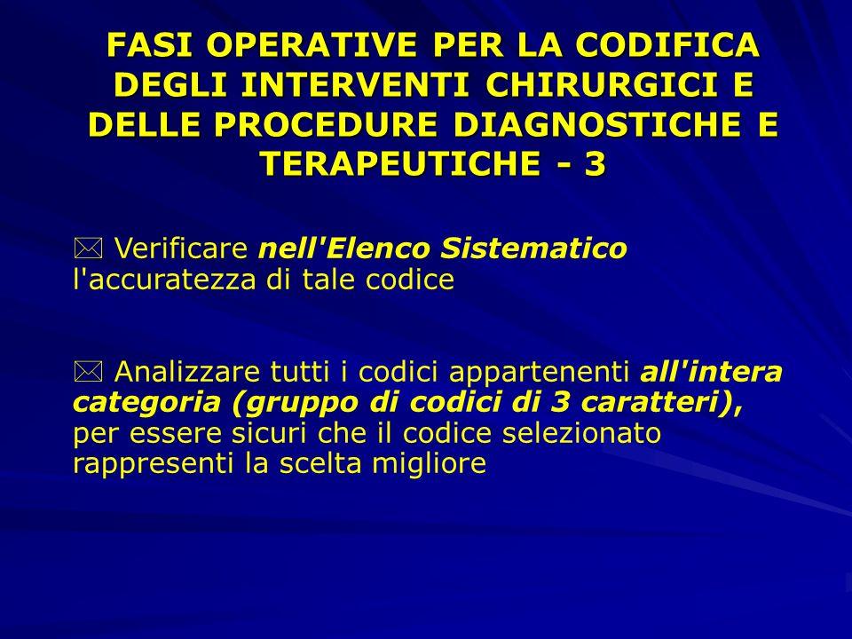 FASI OPERATIVE PER LA CODIFICA DEGLI INTERVENTI CHIRURGICI E DELLE PROCEDURE DIAGNOSTICHE E TERAPEUTICHE - 3