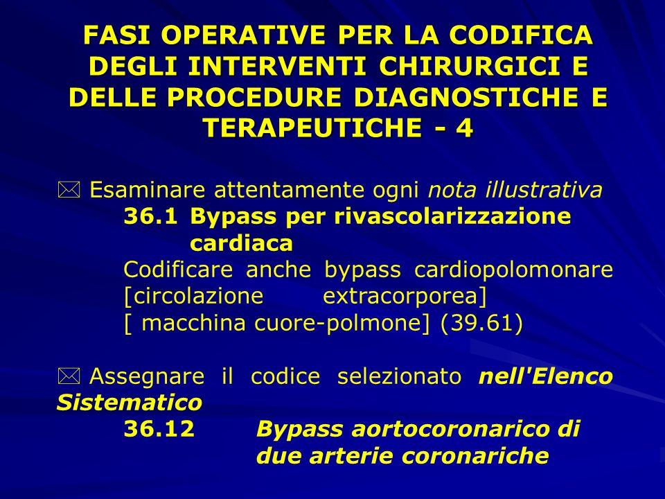 FASI OPERATIVE PER LA CODIFICA DEGLI INTERVENTI CHIRURGICI E DELLE PROCEDURE DIAGNOSTICHE E TERAPEUTICHE - 4