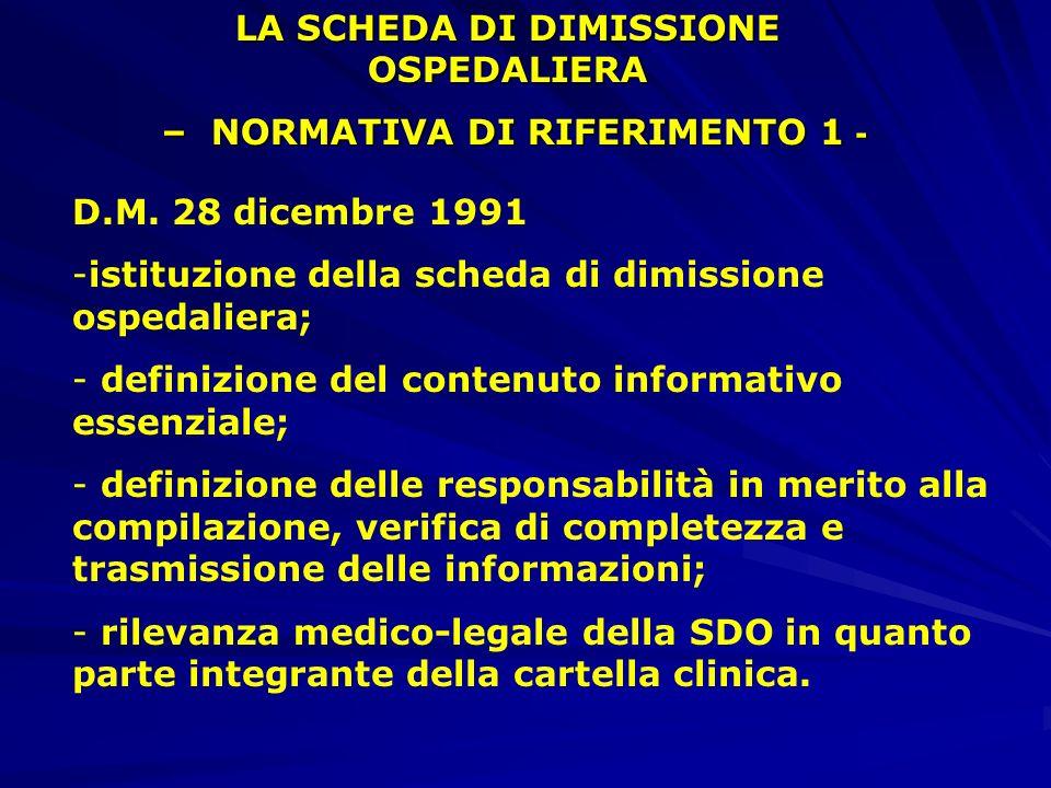 LA SCHEDA DI DIMISSIONE OSPEDALIERA – NORMATIVA DI RIFERIMENTO 1 -