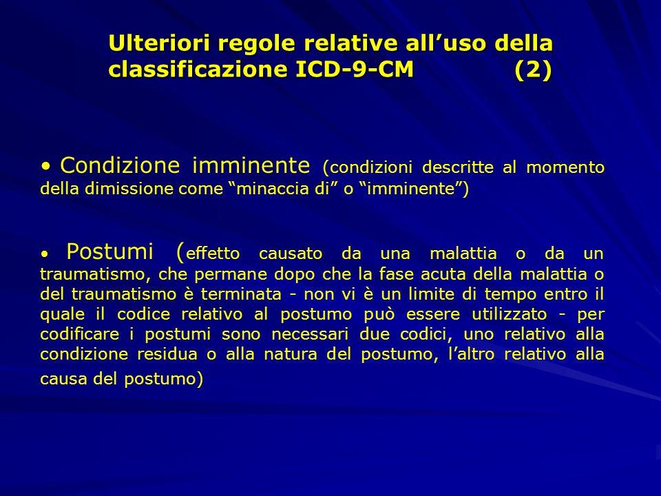 Ulteriori regole relative all'uso della classificazione ICD-9-CM (2)