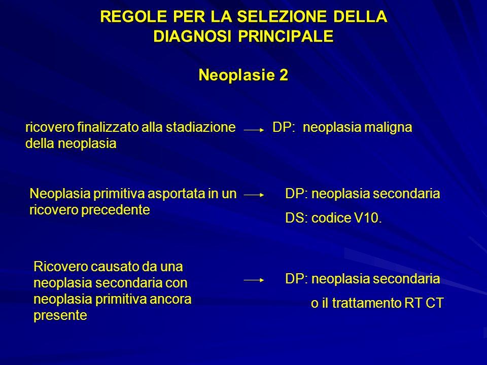 REGOLE PER LA SELEZIONE DELLA DIAGNOSI PRINCIPALE Neoplasie 2