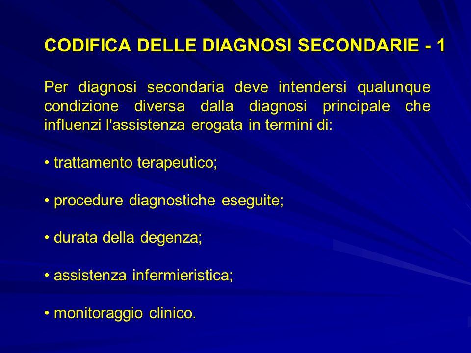 CODIFICA DELLE DIAGNOSI SECONDARIE - 1