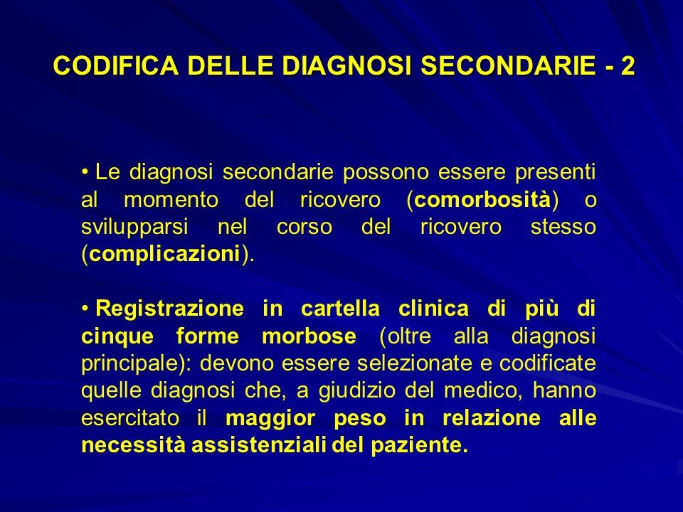 CODIFICA DELLE DIAGNOSI SECONDARIE - 2