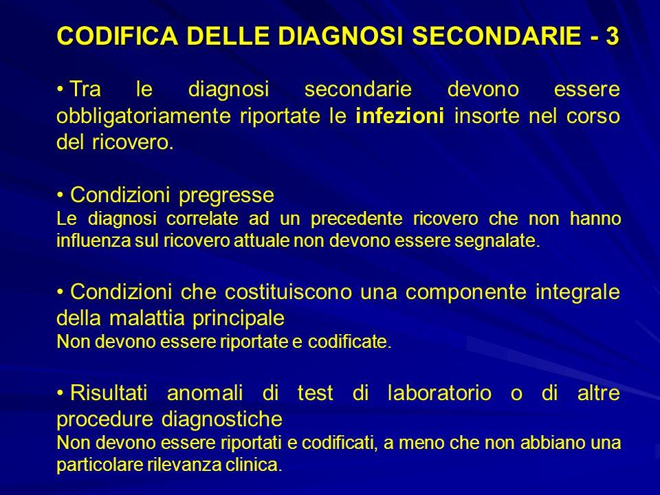 CODIFICA DELLE DIAGNOSI SECONDARIE - 3