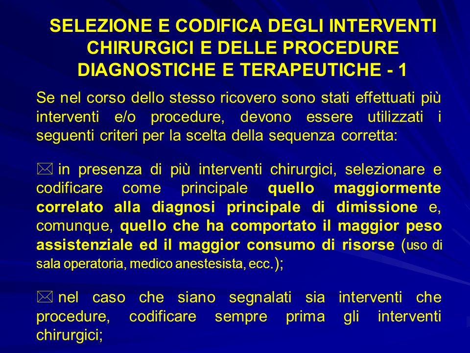 SELEZIONE E CODIFICA DEGLI INTERVENTI CHIRURGICI E DELLE PROCEDURE DIAGNOSTICHE E TERAPEUTICHE - 1
