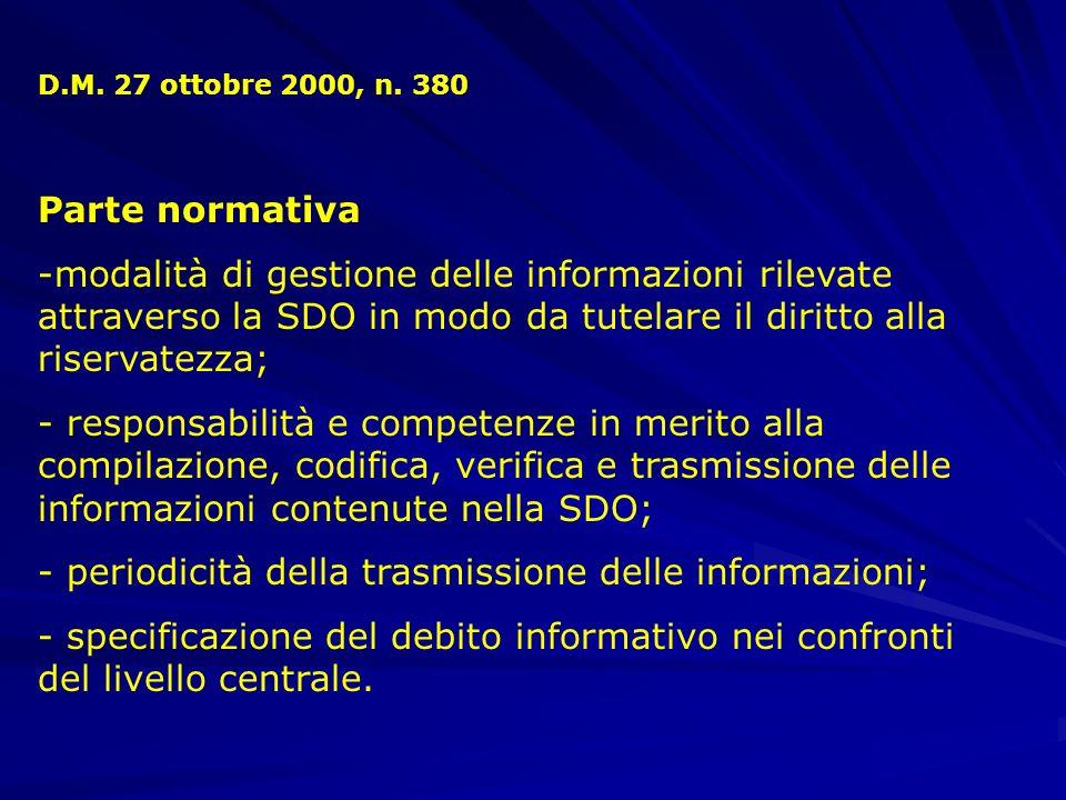periodicità della trasmissione delle informazioni;