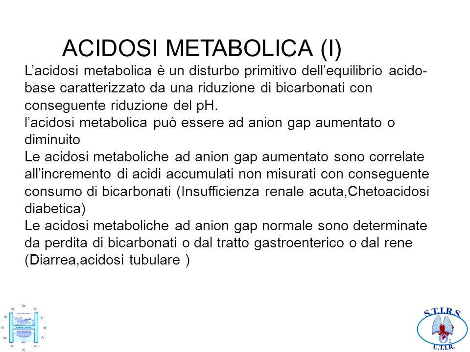 ACIDOSI METABOLICA (I) L'acidosi metabolica è un disturbo primitivo dell'equilibrio acido-base caratterizzato da una riduzione di bicarbonati con conseguente riduzione del pH.