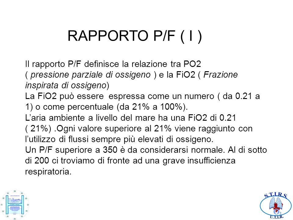 RAPPORTO P/F ( I ) Il rapporto P/F definisce la relazione tra PO2 ( pressione parziale di ossigeno ) e la FiO2 ( Frazione inspirata di ossigeno) La FiO2 può essere espressa come un numero ( da 0.21 a 1) o come percentuale (da 21% a 100%).