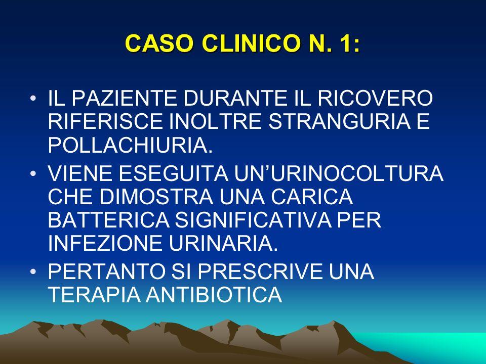 CASO CLINICO N. 1: IL PAZIENTE DURANTE IL RICOVERO RIFERISCE INOLTRE STRANGURIA E POLLACHIURIA.