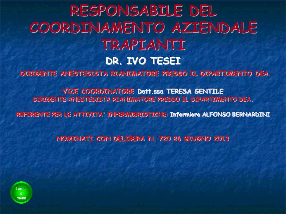 RESPONSABILE DEL COORDINAMENTO AZIENDALE TRAPIANTI
