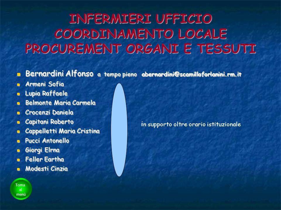 INFERMIERI UFFICIO COORDINAMENTO LOCALE PROCUREMENT ORGANI E TESSUTI