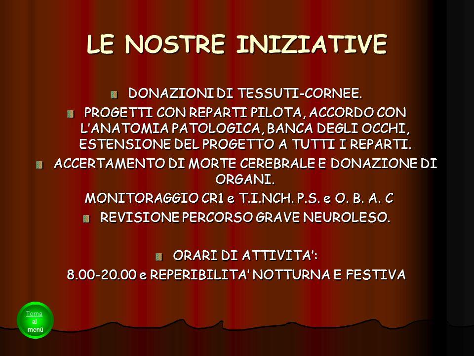 LE NOSTRE INIZIATIVE DONAZIONI DI TESSUTI-CORNEE.