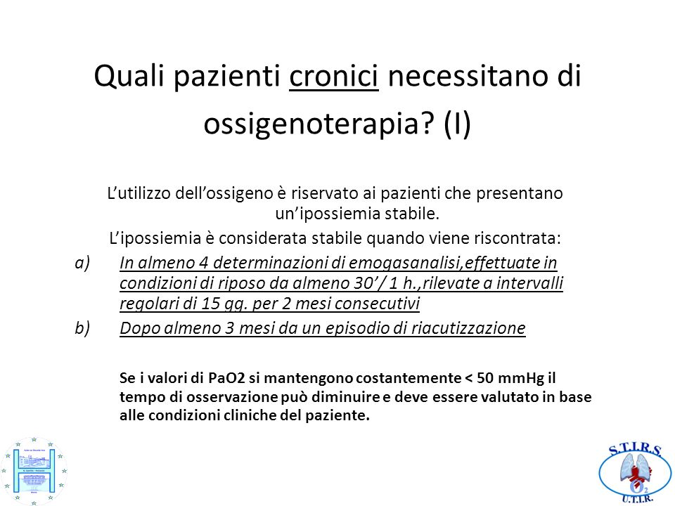Quali pazienti cronici necessitano di ossigenoterapia (I)