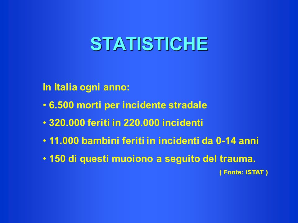 STATISTICHE In Italia ogni anno: morti per incidente stradale
