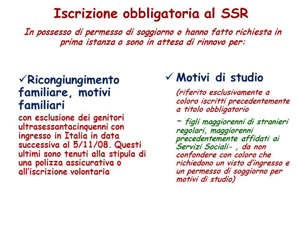 Iscrizione obbligatoria al SSR