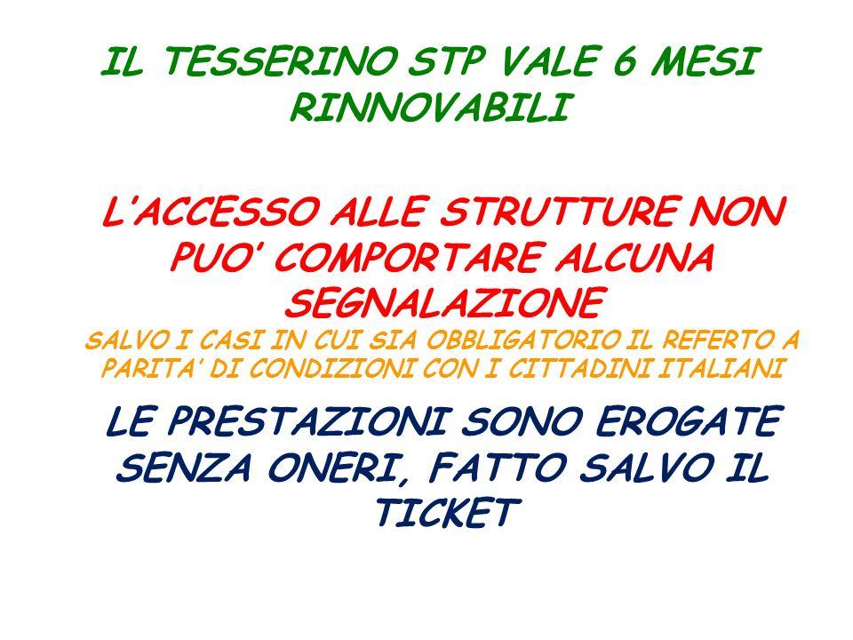 IL TESSERINO STP VALE 6 MESI RINNOVABILI