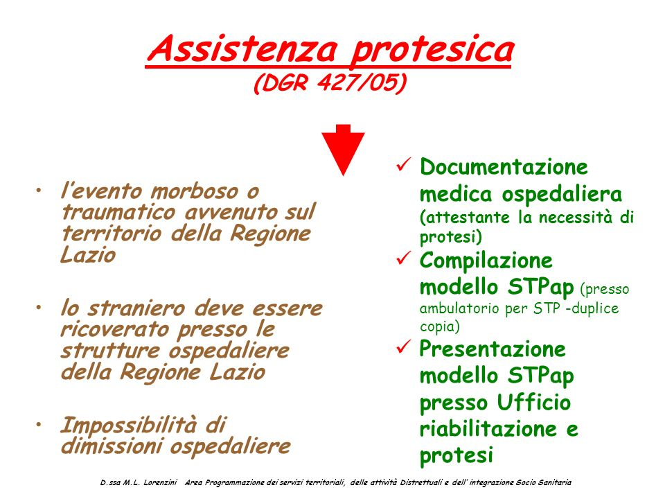 Assistenza protesica (DGR 427/05)
